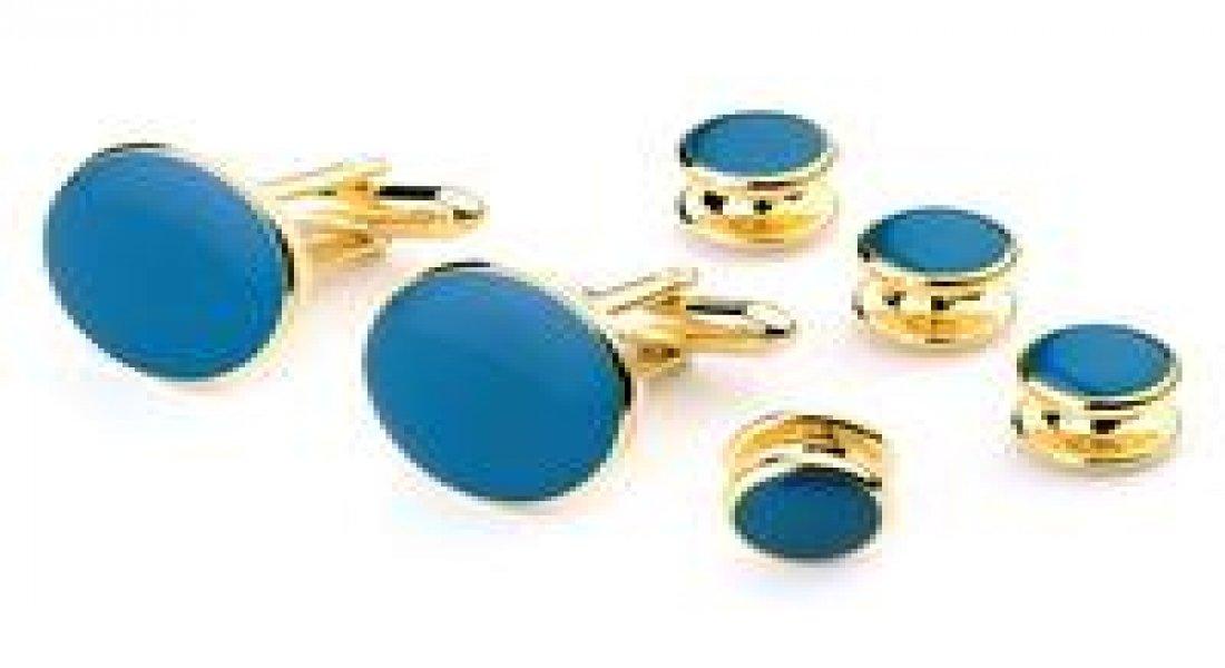 Royal Blue Tuxedo Studs and Cufflinks Gold Trim