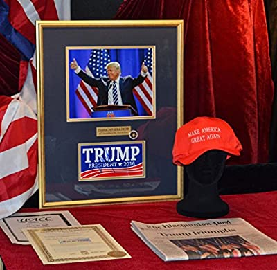 Dramtic DONALD TRUMP photo with autographed Bumper Sticker, COA, UACC RD#228, PSA/DNA Guaranteed, FRAME, CAP