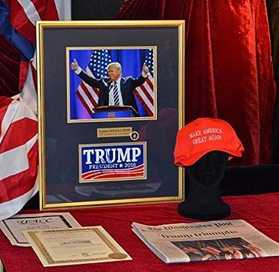 Dramtic DONALD TRUMP photo with autographed Bumper Sticker, COA, UACC RD#228, PSA/DNA Guaranteed, FRAME, CAP