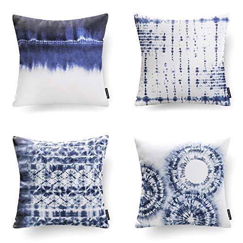 Phantoscope Set of 4 Decorative Blue and White Porcelain Throw Pillow Cover 18
