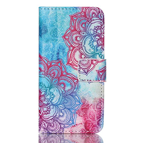 iPod Touch 5 Case, Jenny Shop New Design Dual Use Premium PU Leather Wallet Flip Case with Built-in Card Slots, Cash Pocket, Magnetic Closure for Apple iPod Touch 5th Generation (Colorful Lace) (Ferrari-london-shop)