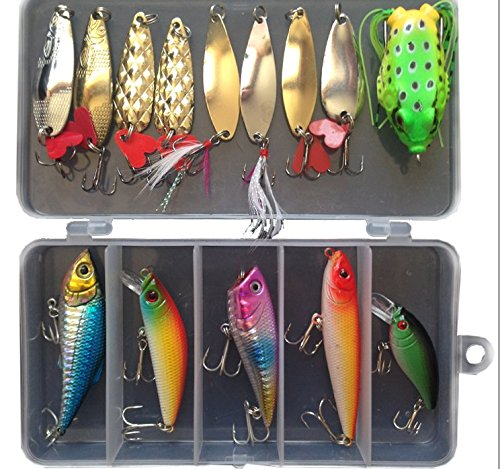 Bluenet Fishing Lure Set Hard Lures Bait Minnow Popper Crank Rattlin Pencil Soft Lures Plastic Frogs Metal Lures Spinner with Box Packing