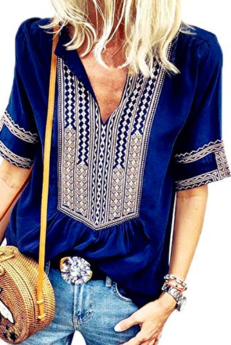 Chase Secret Womens Casual Tops V Neck Short Sleeve Boho Print Shirts Summer Blouses Small Blue