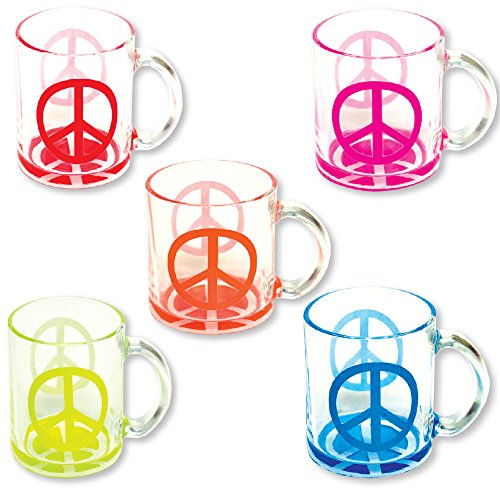 Glass Mugs - Set of 5 Coffee and Tea Cups 12 oz Neon Peace Sign - Dishwasher Safe ()