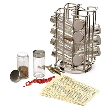 RSVP International 16 Bottle Stainless Steel Revolving Spice Rack