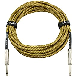 GLS Audio 20 Foot Guitar Instrument Cable - 1/4 Inch TS to 1/4 Inch TS 20 FT Brown Yellow Tweed Cloth Jacket - 20 Feet Pro Cord 20\' Phono 6.3mm - SINGLE