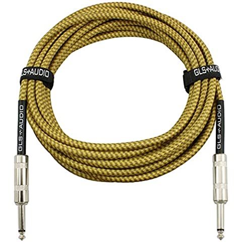 GLS Audio 20 Foot Guitar Instrument Cable - 1/4 Inch TS to 1/4 Inch TS 20 FT Brown Yellow Tweed Cloth Jacket - 20 Feet Pro Cord 20' Phono 6.3mm - (Bass Guitar Instrument)