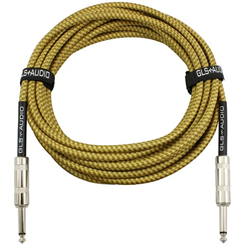 GLS Audio 20 Foot Guitar Instrument Cable - 1/4 Inch TS to 1/4 Inch TS 20 FT Brown Yellow Tweed Cloth Jacket - 20 Feet Pro Cord 20' Phono 6.3mm - Single