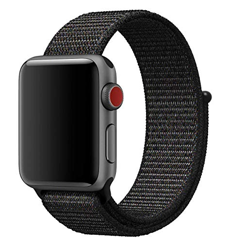MadeforOnline Nylon Sport Loop Band for Apple Watch 42mm 38mm, Hook and Loop Fastener, Adjustable Closure Wrist Strap Replacement Band for iWatch Sport, Nike+, Series 3, 2, 1 (Black Platinum, 42mm)