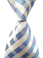 Allbebe Men's Classic Checks Light Blue Jacquard Woven Silk Tie Necktie