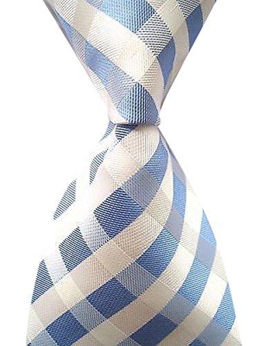 Allbebe Men's Classic Checks Light Blue Jacquard Woven Silk Tie Necktie