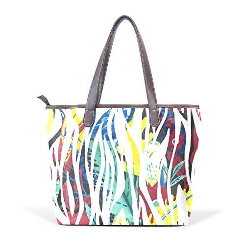 COOSUN La cebra abstracta grandes mango de cuero Bolsa de hombro bolsa de asas de mano de PU M (40x29x9) cm Multicolor # 001