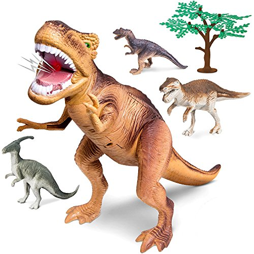 Discovery Kids 5 Piece T-Rex Dinosaur Collection Toy Set, Features 15 Inch Tyrannosaurus Rex Figure, Real Life Roar Sound Effects W/ Action Arm, Raptor Included, an Educational Gift for Children