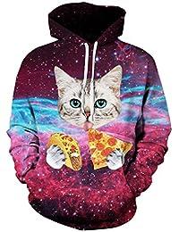 Imilan Mens 3D Print Galaxy Crewneck Pullover Hoodies Sweatshirt