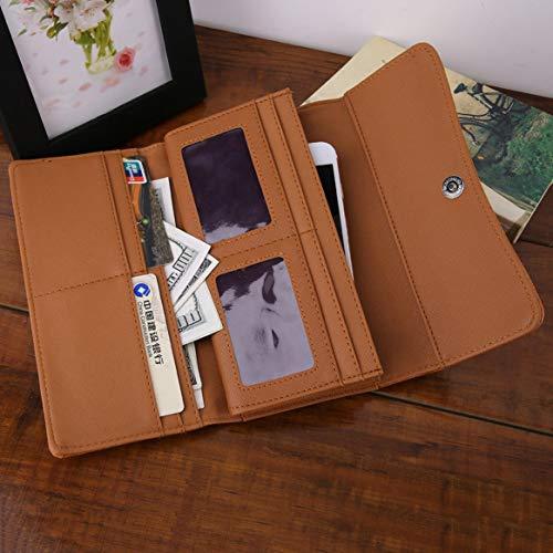 señoras mujeres las monedero embrague PU hueco Moda retro de billetera diseño simple vendimia la de bolsos elegante cuero de de tallado la de vwY01q