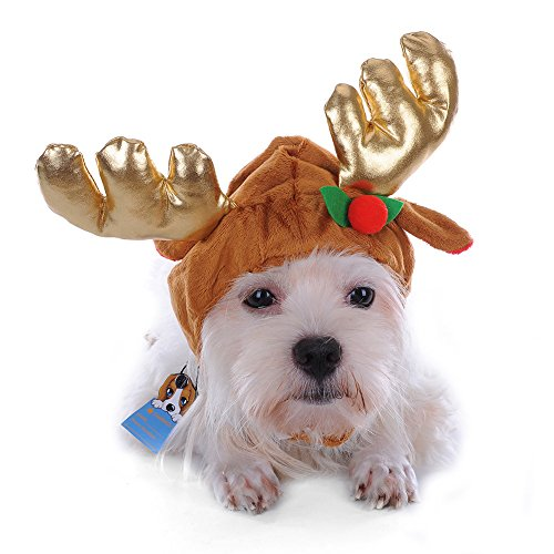 [Halloween And Merry Christmas Pet Cute Reindeer Costume Hat for Cat and Dog, Size S, M, L. (L)] (Iron Man Cat Costume)