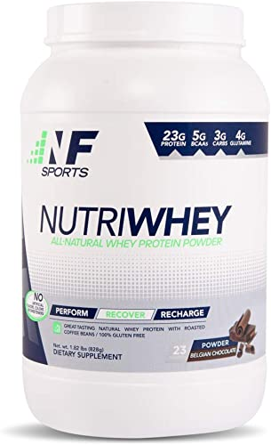 NF Sports NutriWhey – All-Natural Whey Protein Powder That Improves Post-Workout Recovery and Muscle Repair -Belgian Chocolate Flavor – 100 Satisfaction Guaranteed – 23 Servings