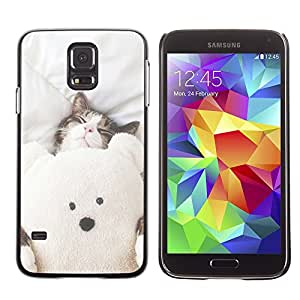 SHIMIN CAO- Dise?o Caso duro de la cubierta Shell protector FOR Samsung Galaxy S5 I9600 G9009 G9008V- Bear Cat Cute