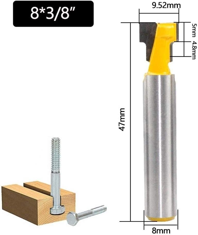 3Pcs 8mm Schaft T-Nutenfr/äser Fr/äser Set Schl/üsselloch Bits Hex Bolt T Sto/ßen Fr/äser for Holz Holzbearbeitungswerkzeug