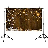 Allenjoy 7X5ft Winter Gold Yellow Wood Background for Photography Snowflake Bokeh Photo Backdrop Studio Props Christmas Party Decorations
