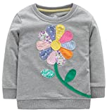 Fiream Girls Cotton Crewneck Cute Embroidery Sweatshirts(120Grey,6)