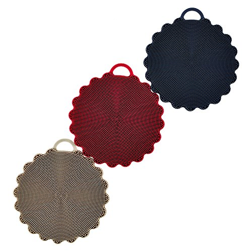 Silicone Sponge | Scrubber | Easy to Clean | Sponge Replacement Tool | Multipurpose for Kitchen Bathroom Living Room Cleaning Brush | Food-Grade Antibacterial BPA Free | 3 Pack Rustic Colors by Zintak