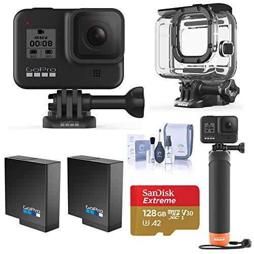 GoPro HERO8 Black, Waterproof Action Camera with Touch Screen 4K UHD Video 12MP Photos, Water Adventure Bundle with Dive/Protective Case, Hand Grip, 2 Battery, 128B microSD Card, Cleaning Kit