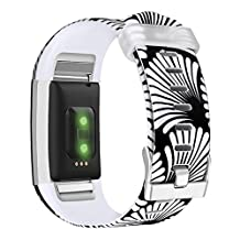 Band for Fitbit Charge 2, UMAXGET Sport Silicone Print Wristband Accessories for Fitbit Charge 2 Small/Large
