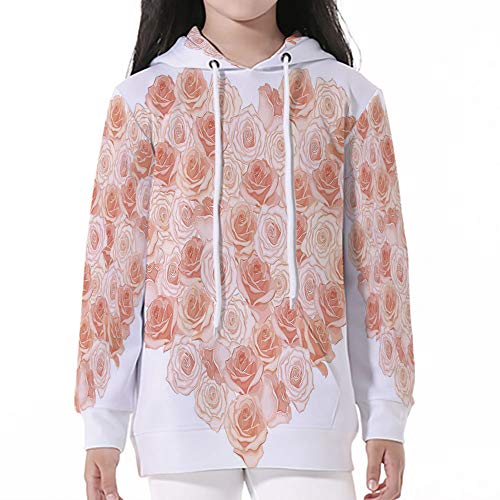Young Boys Pullover Hoodies,Peach,Valentines Day Inspired Heart Shaped Bloomin