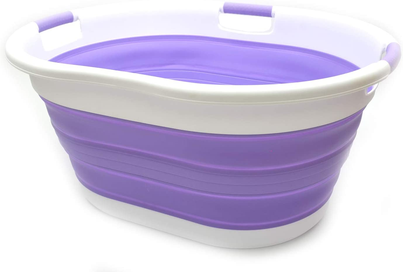 SAMMART 57L (15 Gallons) Collapsible 3-Handled Plastic Laundry Basket - Oval Tub - Portable Washing Tub-Space Saving Laundry Hamper, Water Capacity 44L / 11.6 Gallon (1 pc - Oval, Lt. Purple)
