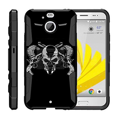 TurtleArmor | HTC Bolt Case | HTC 10 Evo Case [Hyper Shock] Hybrid Dual Layer Armor Holster Belt Clip Case Kickstand - Mercenary Skull (4g For Lte Case Htc Girls Evo)