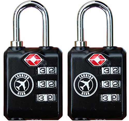TSA Lock Heavy Duty 3 Digit Combination Luggage Padlock Travel Security Approved. (Black 2 Pack)
