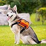 Paw Essentials Adjustable Saddle Bag Dog Backpack Carrier with Harness for Medium to Large Dogs for Traveling, Hiking and Camping (Orange, Large - neck:19.5 - 27.5in, chest:27.5 - 38.5inches)