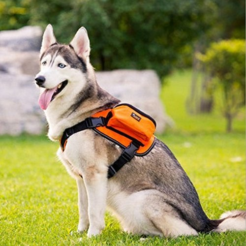 Paw Essentials Adjustable Saddle Bag Dog Backpack Carrier with Harness for Medium to Large Dogs for Traveling, Hiking and Camping (Orange, Large - neck:19.5 - 27.5in, chest:27.5 - 38.5inches) by Paw Essentials