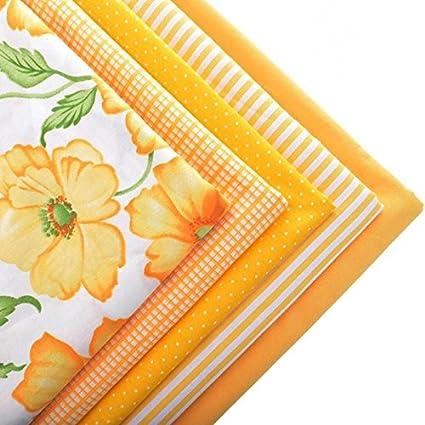 5 Telas Costura Naranjas Florales Manualidades Cortinas Cocina - Telas-de-cocina