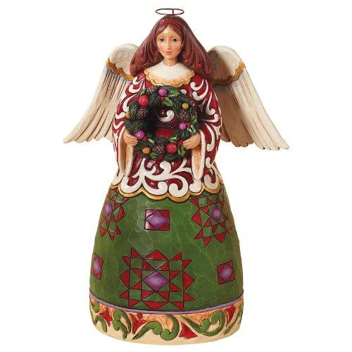 Enesco Jim Shore Heartwood Creek Christmas Angel with Wreath Figurine, 9-1 2-Inch