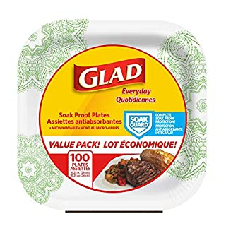 """Glad Square Disposable Paper Plates for All Occasions 