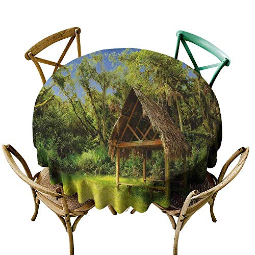 Homrkey Tiki Bar Natural Tablecloth Tiki Hut in Dreamy Fantasy Forest Tropical Island Wildlife Greenery Art Machine Washable Green Blue Brown (Round - 35