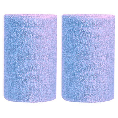 BBOLIVE 4' Inch Wrist Sweatband in 17 Different Neon Colors - Athletic Cotton Terry Cloth - Great for All Outdoor Activity(1 Pair) (Light Blue) ()