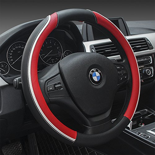 Sino Banyan Microfiber Leather Steering Wheel Cover Universal 15 inch,Anti-slip,Black&Red