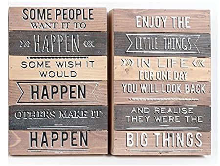 Set Of 2 Wooden Wood Wall Sign Plaque Box Frames Rustic Style Quotes