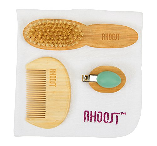 Rhoost All Natural Baby Grooming & Health Care Kit. Includes Bamboo Comb & Brush, Nail Clipper & Cotton Washcloth. Ideal for Infants & Toddlers by Rhoost