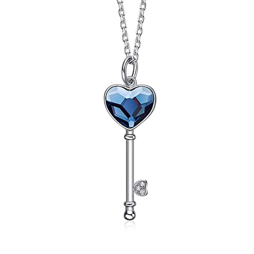 8e7b52a02 Derminpro Key to My Heart Pendant Necklace–925 Sterling Silver Blue Love Heart  Necklaces Made