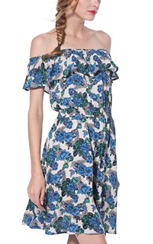 Bohemia Beach Print Blue Floral Ruffle Dress Layer Deak Women's Shoulder Sexy line ARANEE A Off ZwBU55