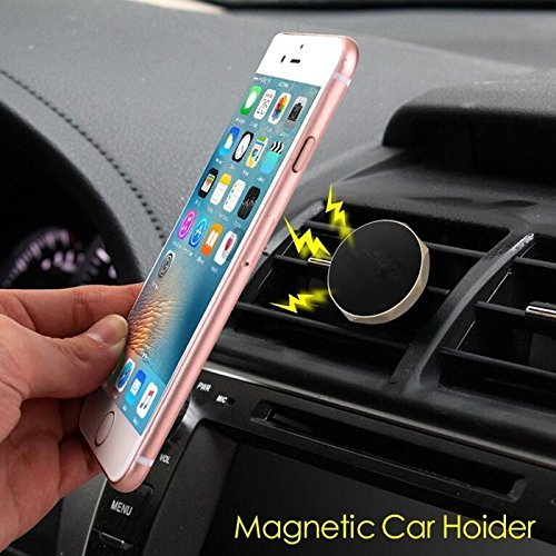 Galaxy GPS /& tablet devices Black with Silver trim vent holder MAG-T01 Tundras Universal Magnetic car Vent Phone Holder easily clip on to car vent compatible with all iPhones Android phones Comes with TWO Magnets