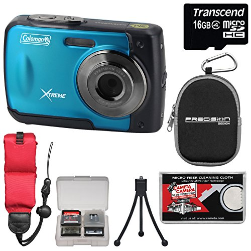 coleman-xtreme-c20wp-shock-waterproof-hd-digital-camera-blue-with-16gb-card-case-floating-strap-trip