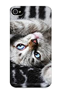 Scratch-free Phone Case For Apple Iphone 4/4S Case Cover - Retail Packaging - Cats Kiens Babies Face Eyes Reflection Humor Cute