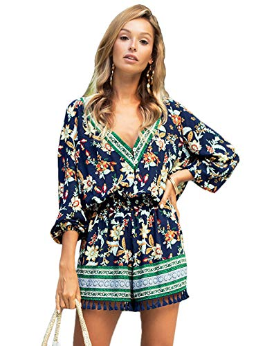 YOUBUY Womens Summer V-Neck Floral Print Rompers Long Sleeve Tops and Shorts High Waist, Navy Blue XL ()