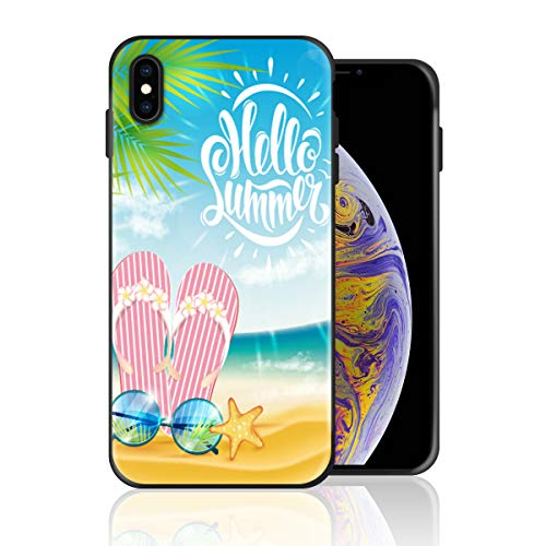 Silicone Case for iPhone Xs Max, Hello Summer Flip Flops Sunglasses Pattern Design Printed Phone Case Full Body Protection Shockproof Anti-Scratch Drop Protection Cover