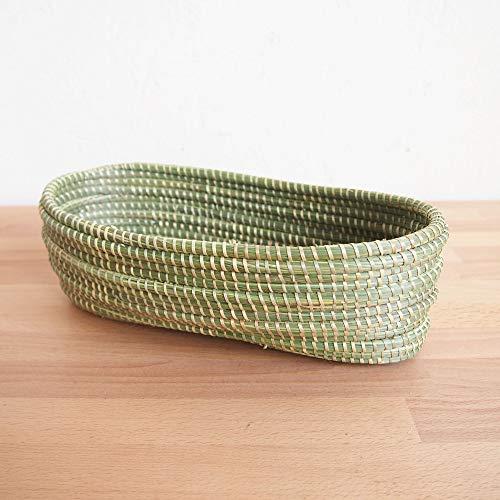 Petite Basket - Petite Wave Bread Basket/African Woven Sweetgrass Tray/Made in Rwanda/Natural